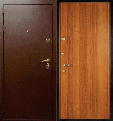 входные двери с порошковым напылением и внутри с ламинатом